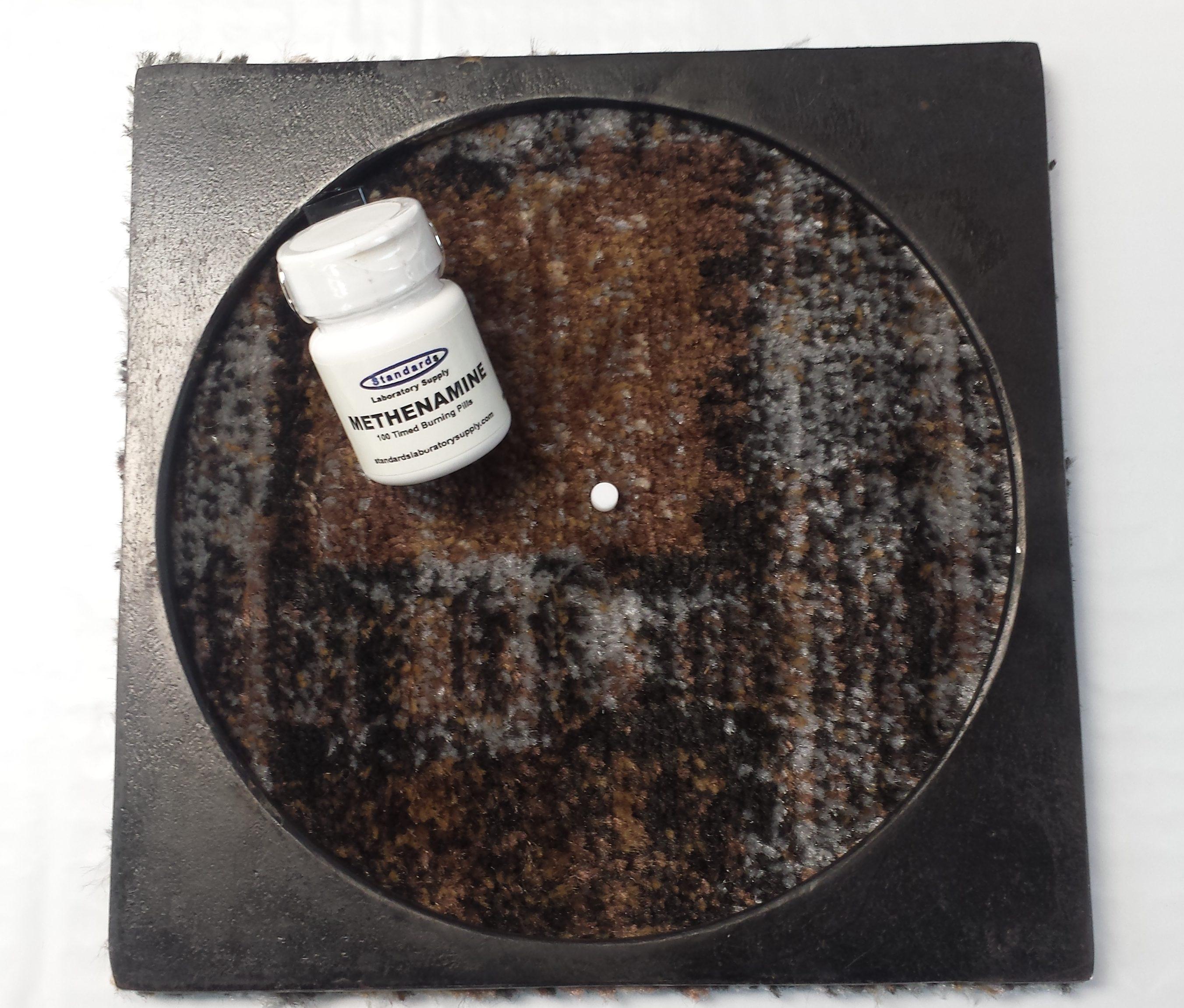 Methenamine Timed Burning Pill Test on Carpet